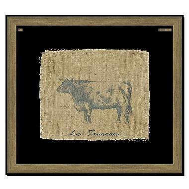 Melissa Van Hise Cow on Linen II Framed Graphic Art; Navy