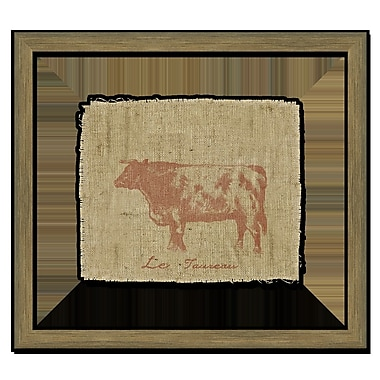 Melissa Van Hise Cow on Linen II Framed Graphic Art; Sienna