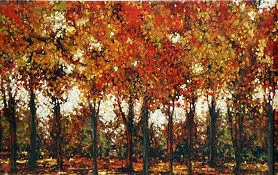 North American Art 'Bordeaux Trees' by Carmen Dolce Painting Print on Wrapped Canvas