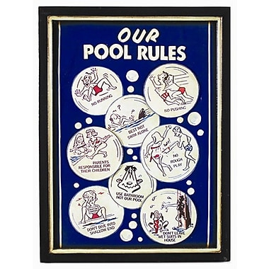 RAM Game Room Our Pool Rules Framed Vintage Advertisement