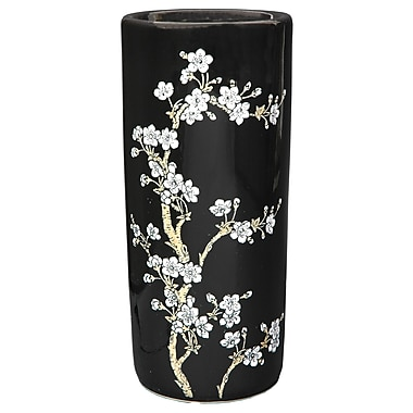 Oriental Furniture Flower Blossom Umbrella Stand