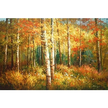 North American Art 'Aspen Woods' by Robert Barnes Painting Print on Wrapped Canvas