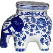 Oriental Furniture Floral Elephant Stool