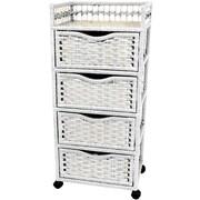 Oriental Furniture 4-Drawer Storage Chest; White