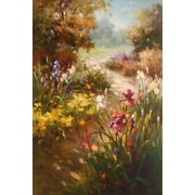 North American Art 'Iris in Bloom' by Vera Oxley Painting Print on Wrapped Canvas