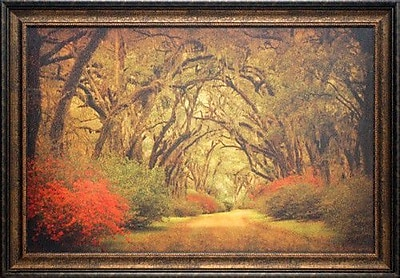 North American Art 'Road Lined w/ Oaks and Flowers' by William Guion Framed Photographic Print