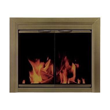 Pleasant Hearth Cahill Cabinet Style Fireplace Screen and Smoked Glass Door; Small