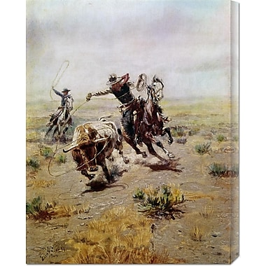 Global Gallery 'Cowboy Roping a Steer' by Charles M. Russell Painting Print on Wrapped Canvas