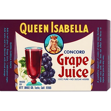 'Queen Isabella Concord Grape Juice' by Retrolabel Vintage Advertisement on Wrapped Canvas