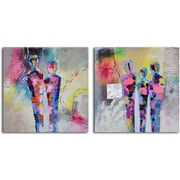 My Art Outlet Kaleidoscope Figurines' 2 Piece Painting on Wrapped Canvas Set