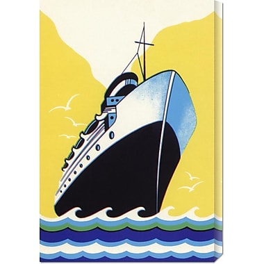 Global Gallery 'Steamship Cruise Liner Boom Label' by Retro Travel Painting Print on Wrapped Canvas