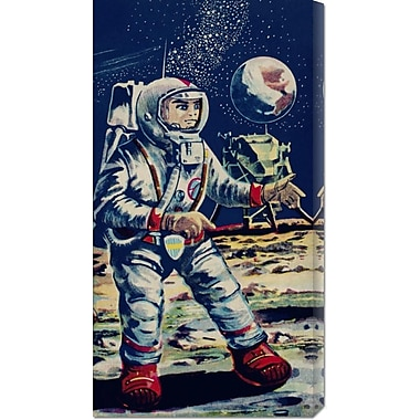 Global Gallery 'Moon Astronaut' by Retrobot Vintage Advertisement on Wrapped Canvas