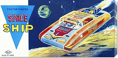 'Friction Powered Space Ship SS-18' by Retrobot Vintage Advertisement on Wrapped Canvas
