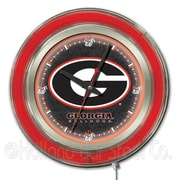 Holland Bar Stool NCAA 15'' Double Neon Ring Logo Wall Clock; Georgia ''G''