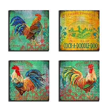 Stupell Industries Parisian Rooster 4 Piece Wooden Textual Art Wall Plaque Set