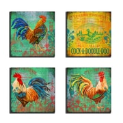 Stupell Industries Parisian Rooster 4 Piece Wooden Textual Art Wall Plaque Set