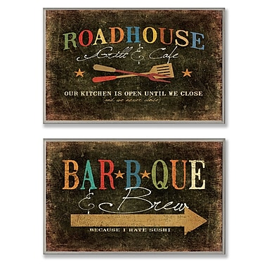 Stupell Industries Roadhouse Grill, BBQ and Brew 2 Piece Textual Art Wall Plaque Set