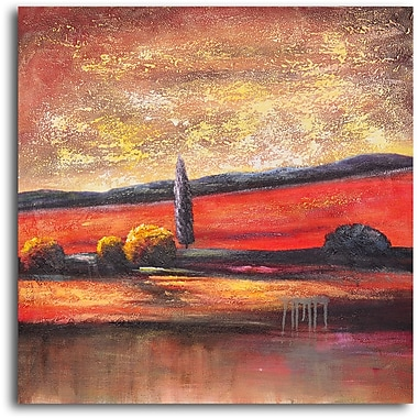 My Art Outlet 'Lone Fir in Landscape' Painting Print on Wrapped Canvas