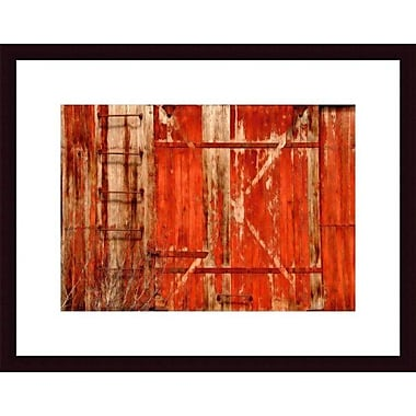 Printfinders Red Boxcar by John K. Nakata Framed Photographic Print; Black