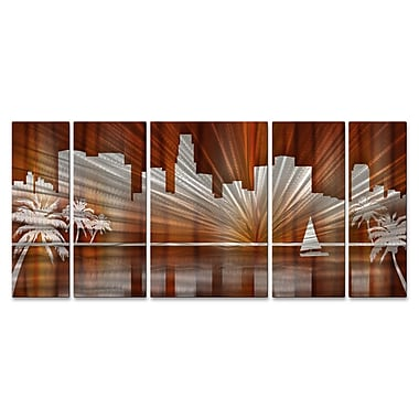 All My Walls Los Angeles Skyline by Ash Carl 5 Piece Graphic Art Plaque Set; Warm