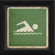 The Artwork Factory Sign Swimming Framed Graphic Art; Green