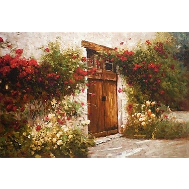 North American Art 'Roses and Old Stone' by Ian Cook Painting Print on Wrapped Canvas