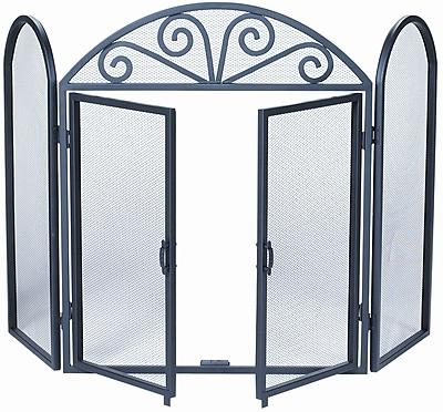 Uniflame 3 Panel Wrought Iron Fireplace Screen w/ Opening Doors