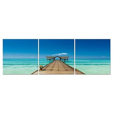 Baxton Studio Azure Tropics 3 Piece Framed Photographic Print on Wrapped Canvas Set