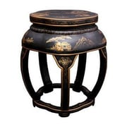 Oriental Furniture Asian Lacquer Blossom Stool; Black