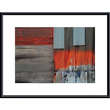 Printfinders Corrugated Metal Collage by John K. Nakata Framed Photographic Print; Black