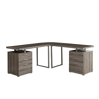 Monarch L-Shaped Desk With Storage Drawers, Dark Taupe
