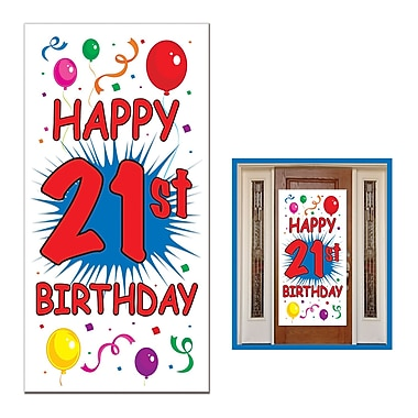 Affiche de porte 21e anniversaire, 30 po x 5 pi, paq./3