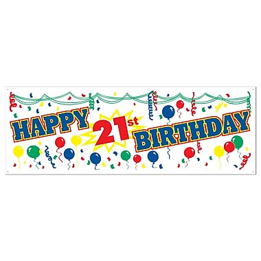 Bannière « Happy 21th Birthday », 5 pi x 21 po, paq./3