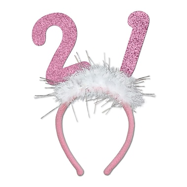 Beistle 21 Glittered Boppers With Marabou, Pink, 3/Pack