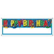 "Happy Birthday Sign Banner, 5' x 21"", 3/Pack"