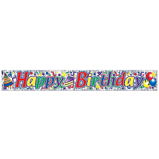 "Beistle 8"" X 5' Metallic Happy Birthday Fringe Banner"