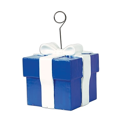 Blue Gift Box Photo/Balloon Holder, 6 Ounces, 3/Pack