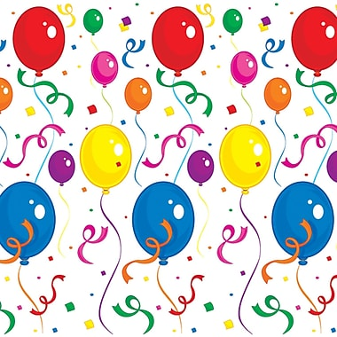 Balloons & Confetti Backdrop, 4' x 30', 1/Pack