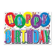 """Beistle 12"""" x 17 1/2"""" Printed Hi-Gloss Foil Birthday Sign, Silver, 5/Pack"""