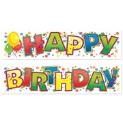 "Happy Birthday Banner, 15"" x 5', 3 Sets/Pack"