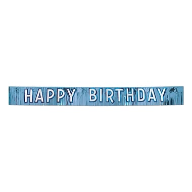 Blue Metallic Happy Birthday Banner, 10