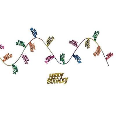 Beistle 25' Gleam 'N Flex Happy Birthday Garland, Multicolor, 4/Pack