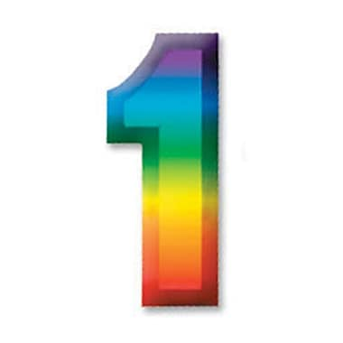 Chiffre « 1 » 3D en plastique multicolore, 11 po, paq./8