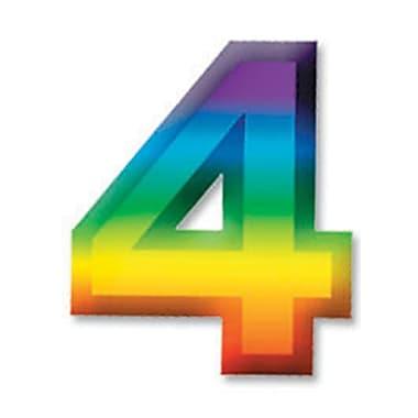 Chiffre « 4 » 3D en plastique multicolore, 11 po, paq./8