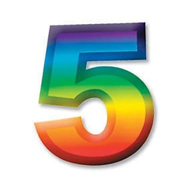 Chiffre « 5 » 3D en plastique multicolore, 11 po, paq./8