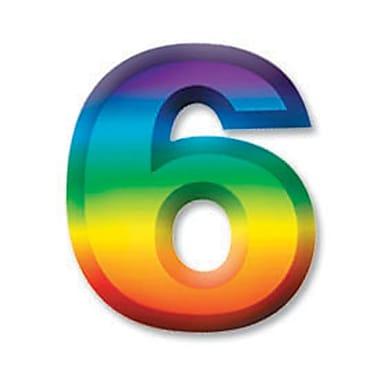 Chiffre « 6 » 3D en plastique multicolore, 11 po, paq./8