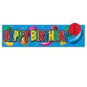 """Beistle 8"""" x 31"""" Happy Birthday Sign With Tissue Balloon, 5/Pack"""