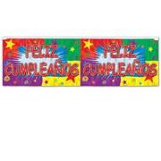 "Beistle 14"" x 4' Flame Resistant Metallic Feliz Cumpleanos Fringe Banner, 4/Pack"