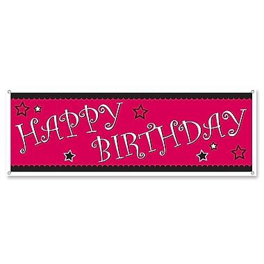 Affiche bannière « Happy Birthday » cerise & noir, 5 pi x 21 po, 3/paquet