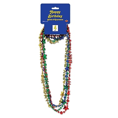 Perles d'expression multicolores « Happy Birthday », 36 po, 12/paquet